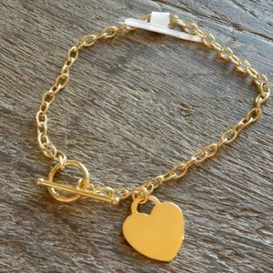 Pure 14k yellow gold heart bracelet